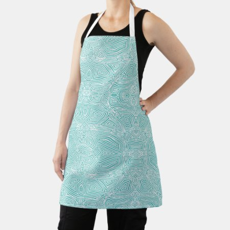 Teal Scribbleprint All-Over Print Apron