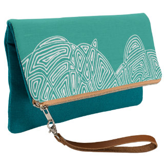 Teal Scribbleprint Waves Clutch