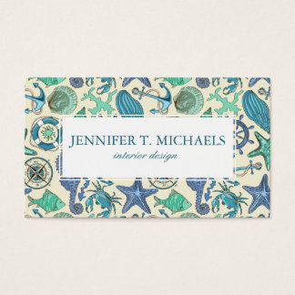 Teal Sea Animals Pattern Business Card