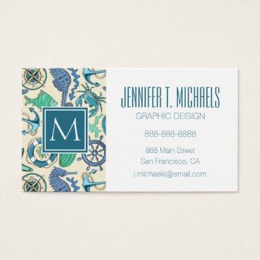 Beach Themed Teal Sea Animals Pattern Business Card