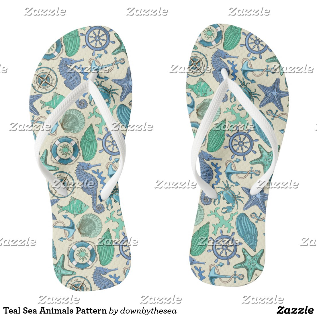 Teal Sea Animals Pattern Flip Flops