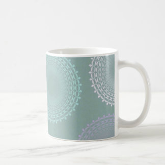 Teal Sea Foam Green Lace Doily Coffee Mug