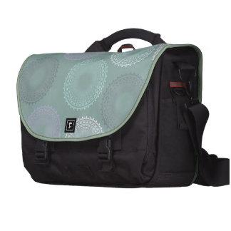Teal Sea Foam Green Lace Doily Laptop Computer Bag