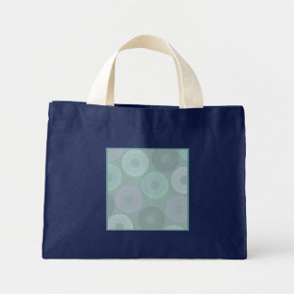 Teal Sea Foam Green Lace Doily Small Navy Blue Bag