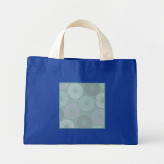 Teal Sea Foam Green Lace Doily Small Royal Blue Tote Bags