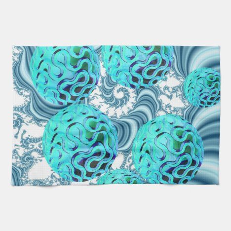 Teal Sea Forest, Abstract Underwater Ocean Kitchen Towel