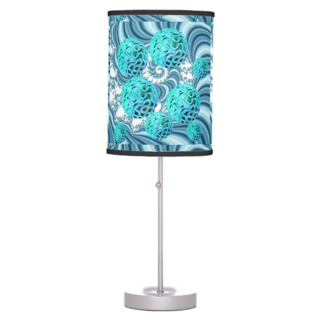 Teal Sea Forest, Abstract Underwater Ocean Table Lamp