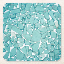 Teal Sea Glass Nautical Print Square Paper Coaster