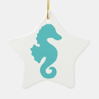 Teal Sea Horse Silhouette Christmas Ornaments