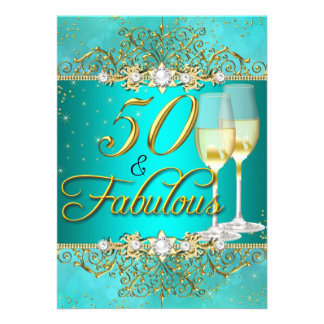 Teal Sea Pearl & Gold Swirl 50 & Fabulous Card