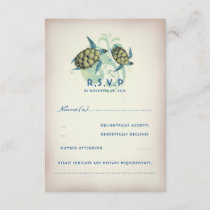 Teal Sea Turtle Wedding RSVP