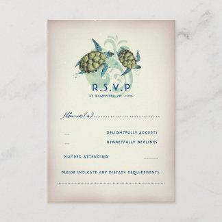 Teal Sea Turtle Wedding RSVP