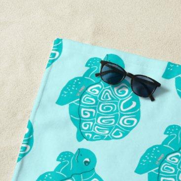 Beach Themed Teal Sea Turtles Pattern Aqua Beach Towel