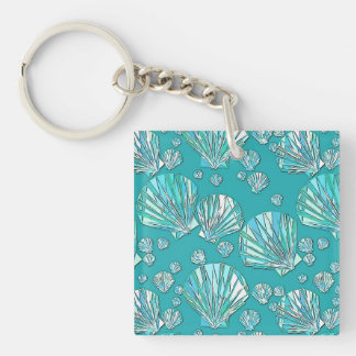 Teal, seafoam sea shells, turquoise background Double-Sided square acrylic keychain