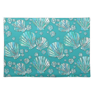Teal, seafoam sea shells, turquoise background placemat