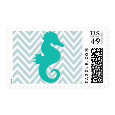 Beach Themed Teal Seahorse Baby Shower Postage