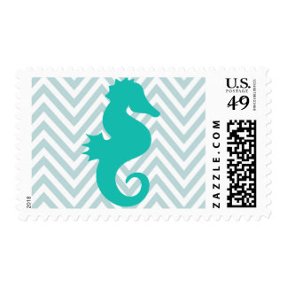 Teal Seahorse Baby Shower Postage