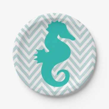 Beach Themed Teal Seahorse Beach Theme Baby Shower Paper Plates