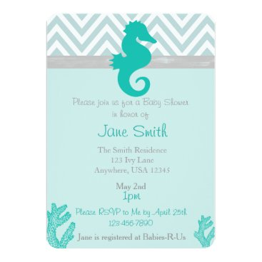 Beach Themed Teal Seahorse Beach Themed Baby Shower Invitation