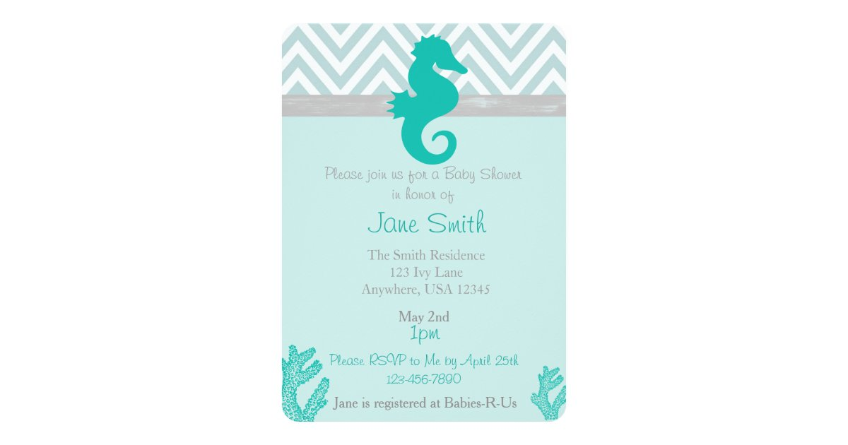 Teal Seahorse Beach Themed Baby Shower Invitation | Zazzle.com