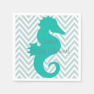 Teal Seahorse Beach Themed Baby Shower Napkins Standard Cocktail Napkin