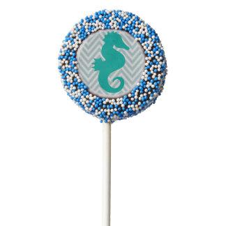 Teal Seahorse Beach Themed Baby Shower Oreo Pops