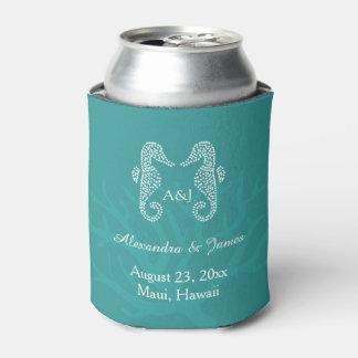 Teal Seahorse Beach Wedding Monogram Can Cooler