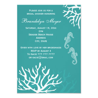 Teal Seahorse Bridal Shower Invitations