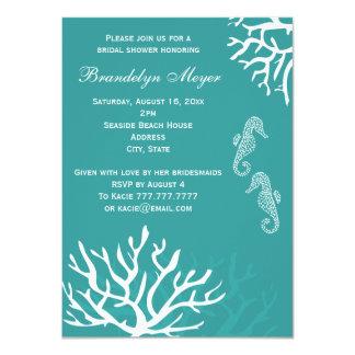 Teal Seahorse Bridal Shower Invitations