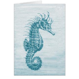 teal seahorse greeting card