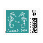Teal Seahorse Monogram Wedding Postage Stamps Stamps
