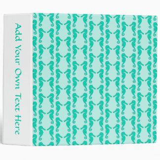 Teal Seahorse Pattern 3 Ring Binder