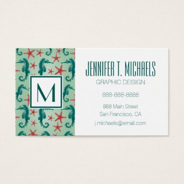 Beach Themed Teal Seahorse Pattern Business Card