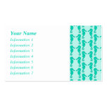 Teal Seahorse Pattern Business Cards