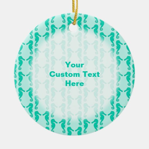 Teal Seahorse Pattern Christmas Ornament