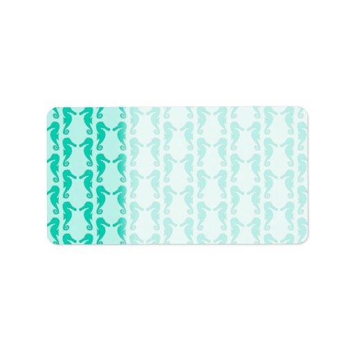 Teal Seahorse Pattern Custom Address Label