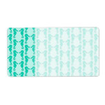 Teal Seahorse Pattern Custom Shipping Label