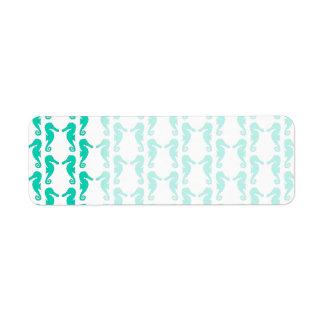 Teal Seahorse Pattern Label