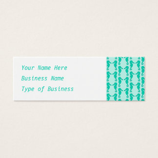 Teal Seahorse Pattern Mini Business Card