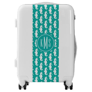Beach Themed Teal Seahorse Pattern | Monogram Luggage