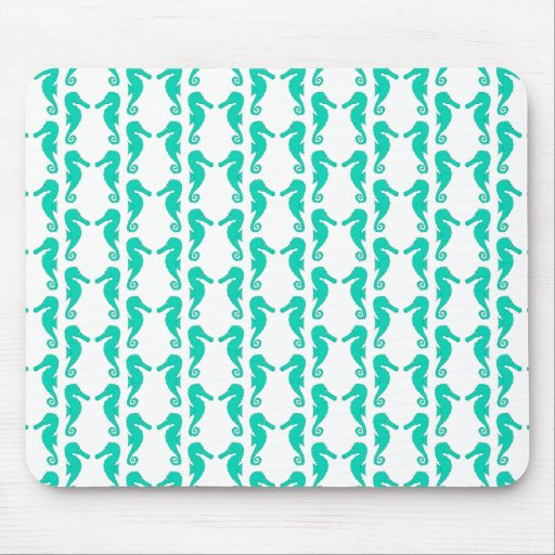 Teal Seahorse Pattern Mouse Pad