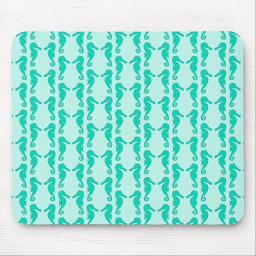Teal Seahorse Pattern Mouse Pads