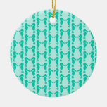 Teal Seahorse Pattern Ornament