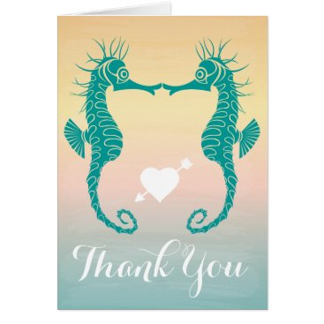 Beach Themed Teal Seahorse Thank You Blue, Peach Beach Sunset Card