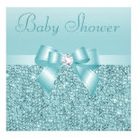Teal Sequins, Bow & Diamond Baby Shower Announcement