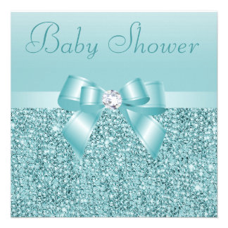 Teal Sequins Bow Diamond Baby Shower Announcement