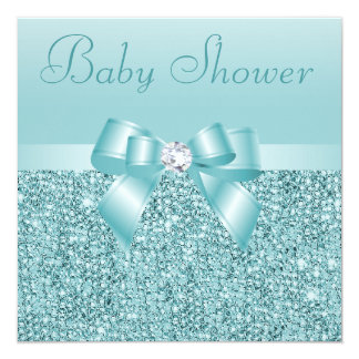 Teal Sequins, Bow & Diamond Baby Shower 5.25x5.25 Square Paper Invitation Card