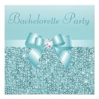 Teal Sequins Bow Diamond Bachelorette Party Invite