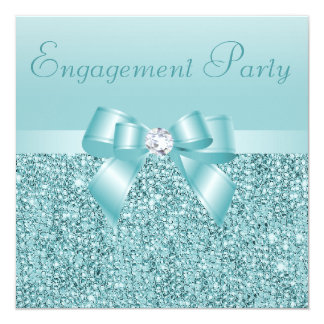 Teal Sequins, Bow & Diamond Engagement Party Card
