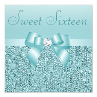 Teal Sequins, Bow & Diamond Sweet 16 Card